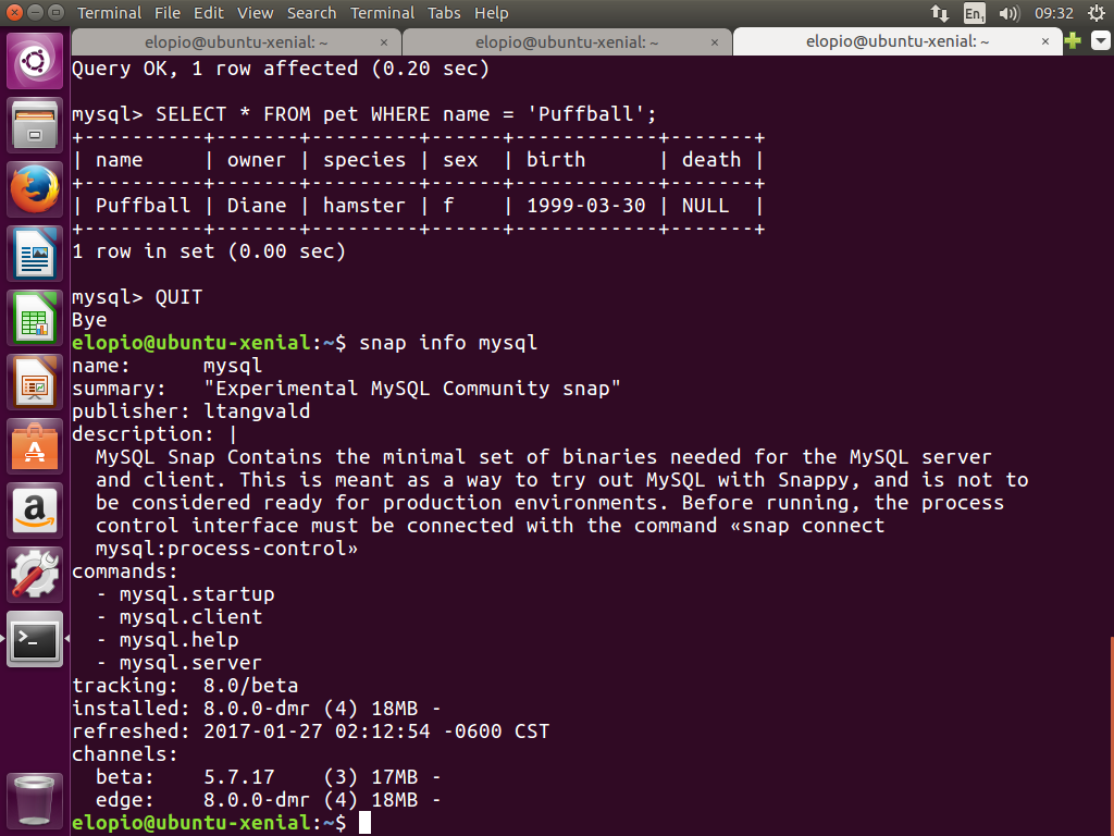 screenshot of mysql snap running