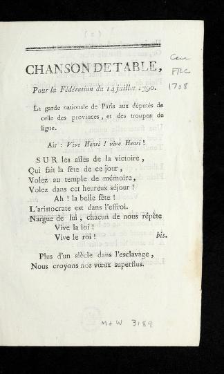Chanson de table, pour la fe de ration du 14 juillet 1790 by Catherine Cooper Hopley